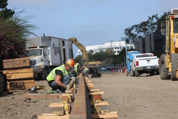 Rail welding for the Expo Line near Stewart Street in Santa Monica.