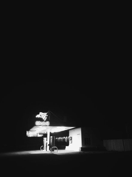 ART OF TRANSIT: Somewhere in the night at this gas station in California; looks like the kind of photos found in old Bruce Springsteen albums. The reader who correctly guesses the location will be showered with praise in tomorrow's headlines. Readers who fully understand the