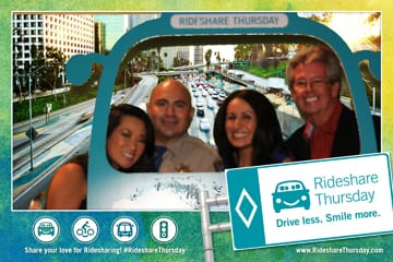 The Golden Pylon winners having photobooth fun and demonstrating how to rideshare! Photo provided by RecordedMemories.org
