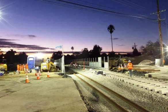 Track work near Overland Avenue earlier this fall. Photo by Expo Line Construction Authority.