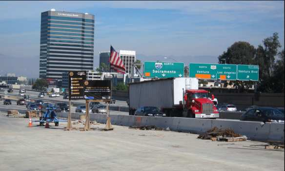 The Presidents' Day northbound 405 paving operation will realign a portion of the freeway centerline to the west in the San Fernando Valley.