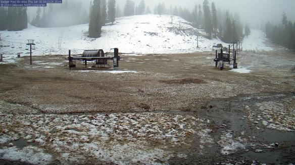 ART OF DROUGHT: The Badger Pass ski area in Yosemite National Park as seen on a park webcam this morning. Snow may be on the way for the park today but the photo shows how little of the white stuff there has been to date.