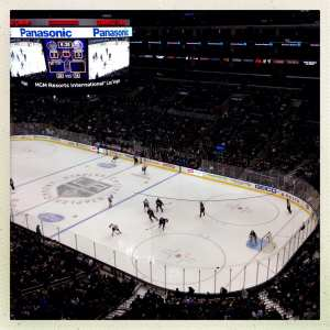 The Kings in action recently as seen from the nosebleeds at Staples. Photo by Steve Hymon/Metro.