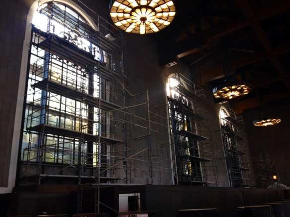 Work being done in the old ticket room at Union Station. Photo: Metro.