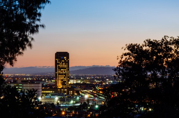 ART OF TRANSIT: Metro headquarters, the Union Station train platforms and the Palos Verdes Peninsula as seen from Elysian Park on Monday evening. Photo by Steve Hymon/Metro.