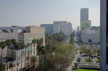 View looking east on Wilshire.