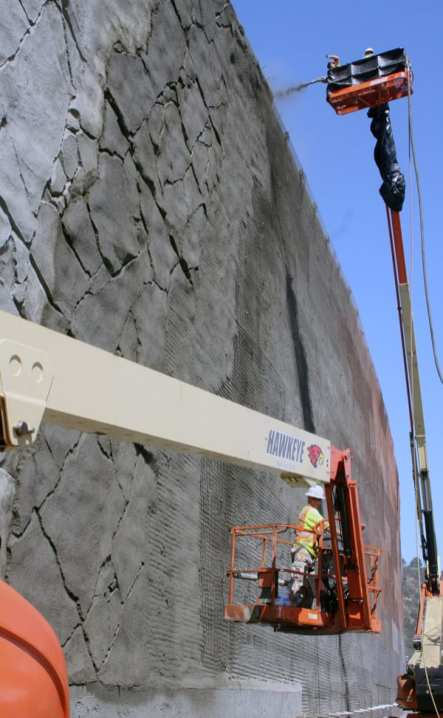 Working on the Getty Center Drive retaining wall.