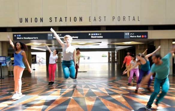 Dancers at Union Station performing Stephan Koplowitz: Red Line Time in April 2013. The fleeting dance performances took place at Metro Rail stations as part of a conference on urbanism and modernism at Metro. Photo by Natalie Metzger.