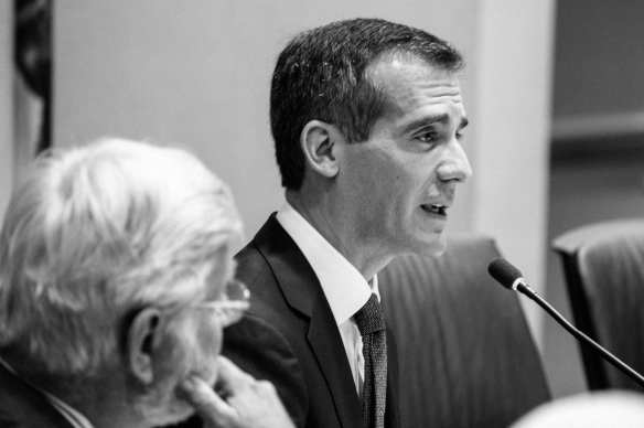 Los Angeles Mayor and Metro Board Chair Eric Garcetti delivering his remarks on Thursday morning. Photo by Steve Hymon/Metro.