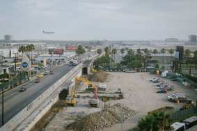Looking south earlier Friday evening toward the bridge over Century Boulevard. Some demolition work has already been done.