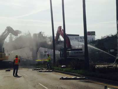 The bridge span collapses on Saturday.