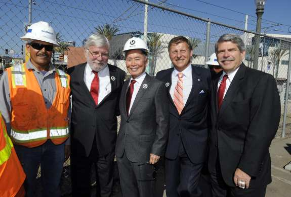 George Takei with Metro CEO Art Leahy and Metro Board Members Ara Najarian and Zev Yaroslavsky.