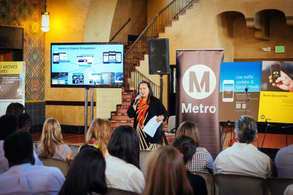 Lan-Chi Lam, Metro's Director of Communications Web & Mobile gives a presentation of Metro's many web-based tools.