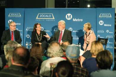 From left, UCLA's Brian Taylor, FAST's Hilary Norton, Metro CEO Art Leahy and KCRW's Kajon Cermac at a Zocalo Public Square event in September about traffic in Southern California. Photo by Steve Hymon/Metro.