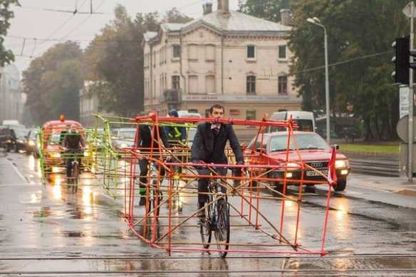 Art of Transit: Latvian bike activists show how much space a bike takes versus that of a car. Clever. Click above for more photos. Photo by Artūrs Pavlovs.