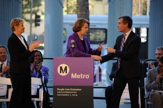 Sen. Dianne Feinstein and L.A. Mayor Eric Garcetti. Photo by Juan Ocampo for Metro.