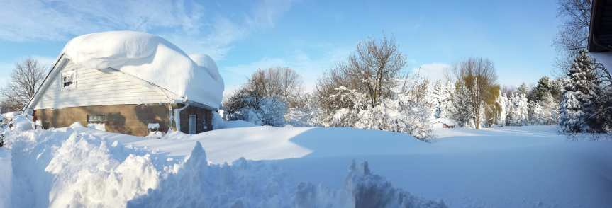 ART OF TRANSPO: There's a road there somewhere. The pic was taken yesterday in the 'burbs of Buffalo, N.Y. Meanwhile, the NWS is predicting a high of 68 in L.A. today -- brrrr! Photo by Tony, via Flickr creative commons.