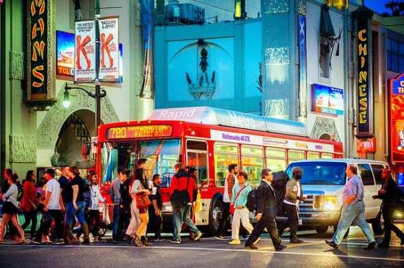 Metro Rapid 780 in Hollywood. (Photo: Steve Hymon / Metro)
