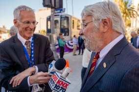 NBC-4's Patrick Healey interviews Metro CEO Art Leahy. Photo by Steve Hymon/Metro.