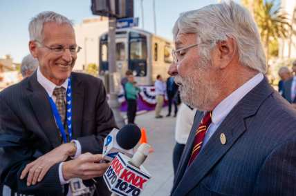 NBC-4's Patrick Healey interviews Metro CEO Art Leahy. Photo by Steve Hymon/Metro.