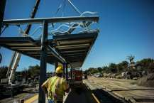 The station canopy being installed at the Westwood/Rancho Park Station.