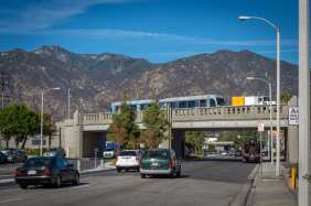 Crossing the bridge over Santa Anita Avenue in Arcadia during Gold Line clearance testing in early December. Photo by Steve Hymon/Metro.