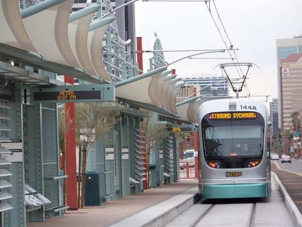 Light rail in Phoenix. Photo by Nick Bastian, via Flickr creative commons.