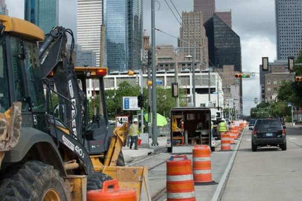 Work on a new light rail line in downtown Houston. Photo: Houston Metro.