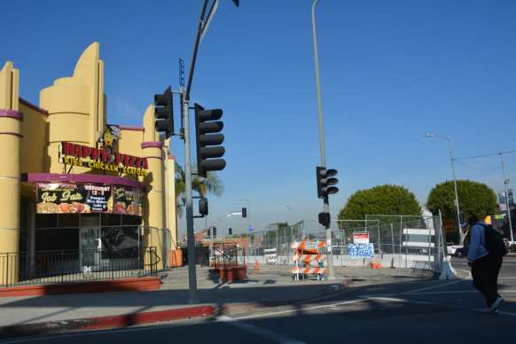 Piling installation on Crenshaw Boulevard between Vernon and 43rd Street.