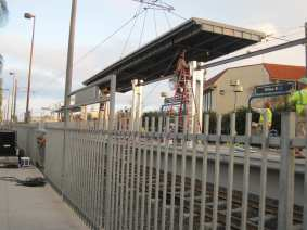 New canopy being installed at Willow Street Station last weekend.