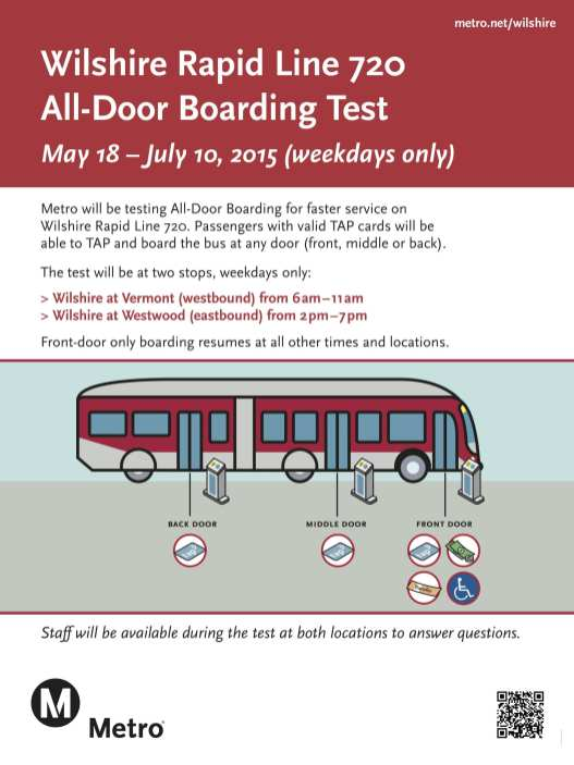 Metro's all door boarding testing on the Metro Rapid 720.