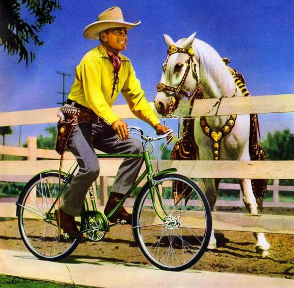 """Save a horse, ride a bicycle!"" Buck Jones and White Eagle, Columbia Pictures, 1941. http://ridesabike.com"