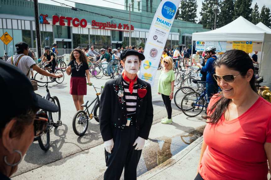 ART OF TRANSIT 2: I'm still trying to figure out who invited the mime to the CicLAvia in the SFV earlier this spring -- and why the mime looks so darn sad at an event that was really fun. If you're a mime and going to CicLAvia in Pasadena on Sunday, cheer up or mime yourself into an invisible box or something. Photo: Steve Hymon/Metro.