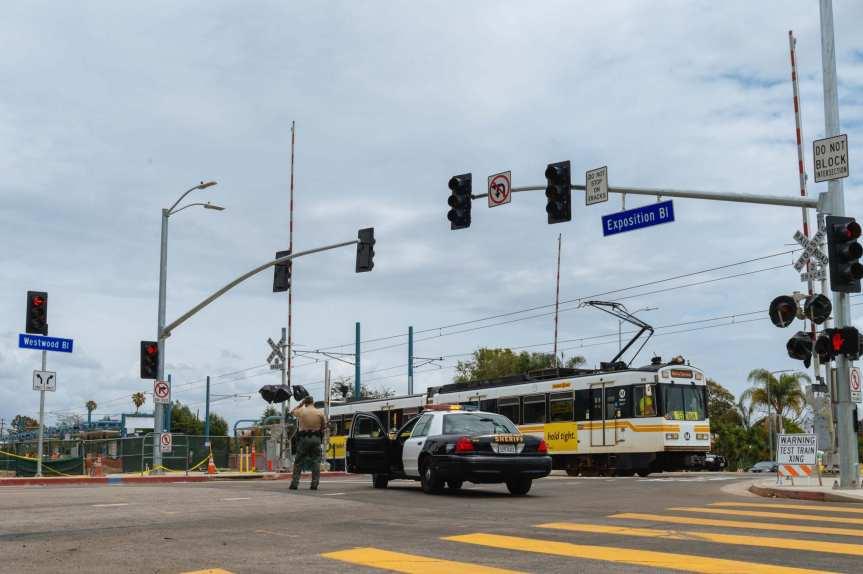 Crossing Westwood Boulevard.