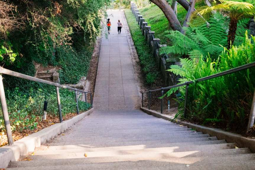 ART OF TRANSIT: Walkers on the public stairs in San Marino. Photo by Steve Hymon (who doesn't live in San Marino, btw).