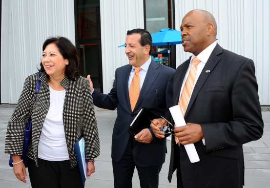 Supervisor and Metro Board Member Hilda Solis with Construction Authority CEO Habib Balian and Metro CEO Phil Washington.