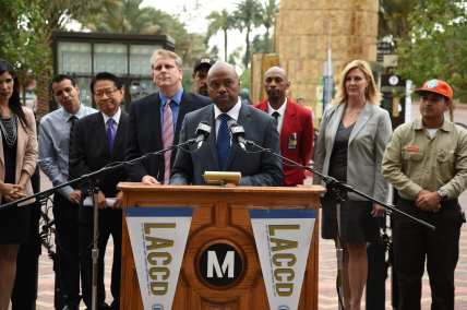 Metro CEO Phil Washington speaks at the LACCD press event announcing receipt of the Career Pathways Trust grant. Photo: Luis Inzunza/Metro