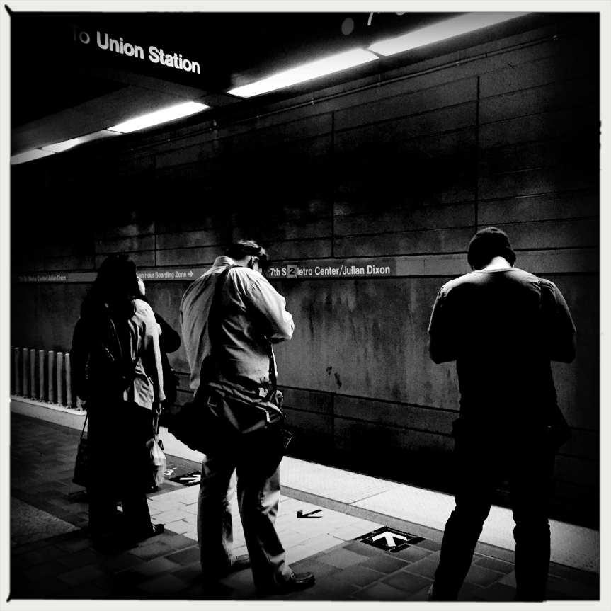 ART OF TRANSIT: Killing time on the subway platform. Photo by Steve Hymon/Metro.