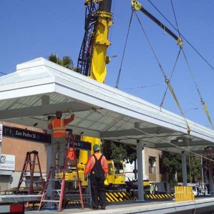 Canopy installation at San Pedro St Station...