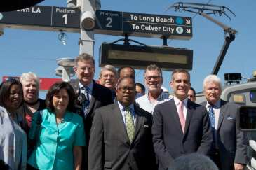 Metro Board Members and local officials (past and present) pose at Pico Station near the site of the 25th Metro Rail anniversary event. Photo: Gary Leonard/Metro