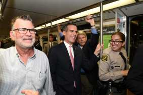 Richard Katz, L.A. Mayor Eric Garcetti and Zev Yaroslavsky. Photo: Luis Inzunza/Metro