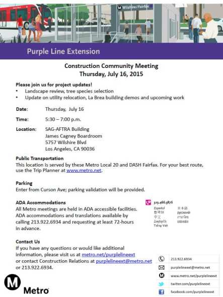 Purple Line Construction Community Meeting Notice