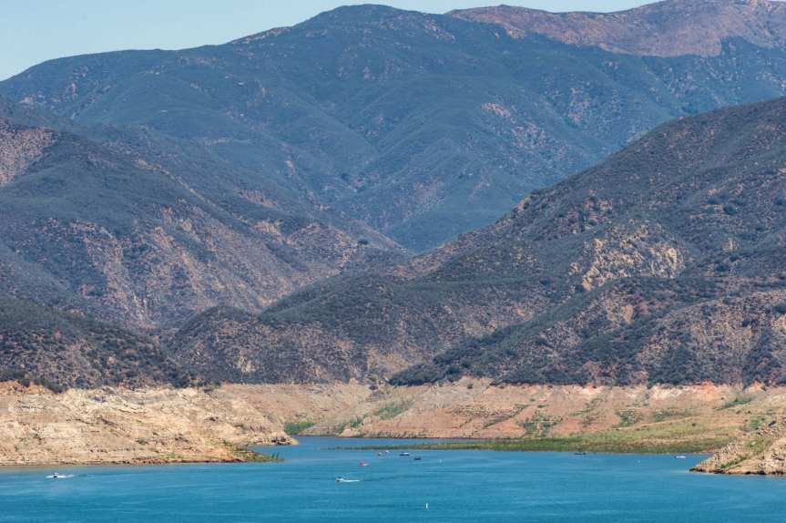 The Art of Infrastructure: Castaic Lake near Santa Clarita as seen earlier this month when the reservoir was 39 percent filled. Photo: Steve Hymon.