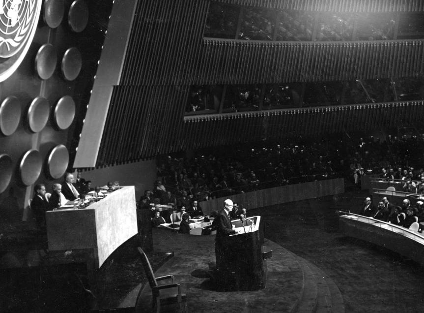President Dwight D. Eisenhower delivered his Atoms for Peace speech at the U.N. in 1953. Photo: NPR via the Eisenhower Presidential Library & Museum