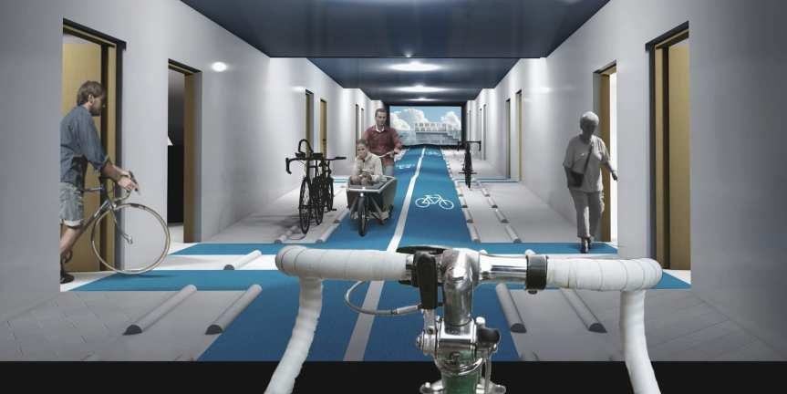 An interior hallway made for bikes. (via Cycle Space)