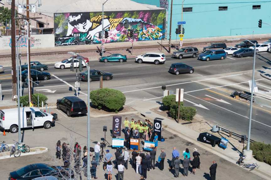 The media event last Thursday in the parking lot for the Harbor Transitway's Slauson station. Photo: Steve Hymon/Metro.