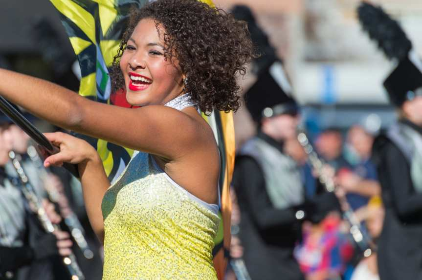 A flag girl for the William Mason High School in the Gold Line-adjacent Tournament of Roses parade on Friday. My first full-time newspaper gig was in good ol' Mason, Ohio, which has since sprawled and sprawled and sprawled some more. Photo by Steve Hymon.