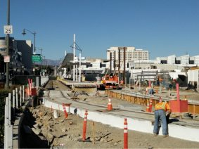 Completed installation of shoofly track tie-in to Little Tokyo/Arts District Station.