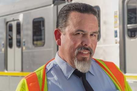Metro Rail operator Mike Santillan, who took the photo featured on the new commemorative TAP card. Photo by Steve Hymon/Metro.
