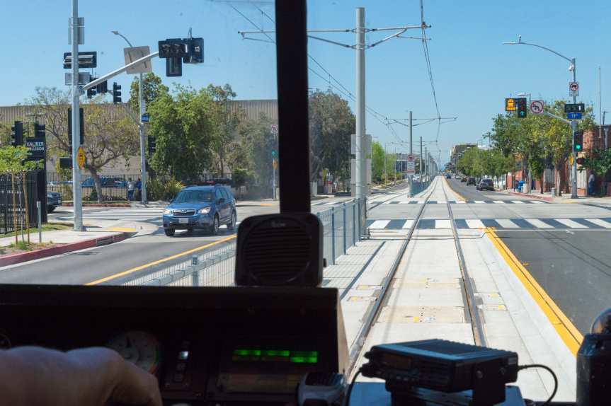 An Expo Line test train getting a green light at Colorado Avenue and 11th Street in Santa Monica. Photo by Steve Hymon/Metro.